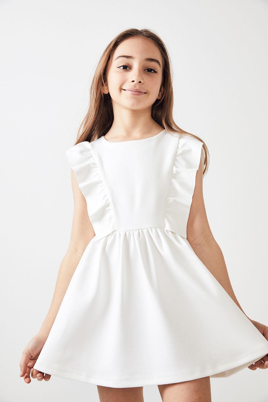 TWEEN GIRL MAVIS PONTE DRESS    in colour CLOUD DANCER