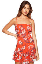 FLORAL FRILL DRESS in colour POPPY RED