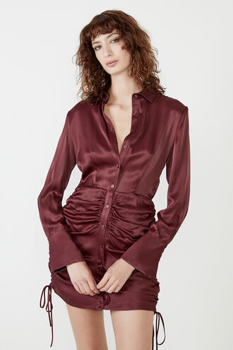 SUI SHIRT DRESS in colour BURGUNDY