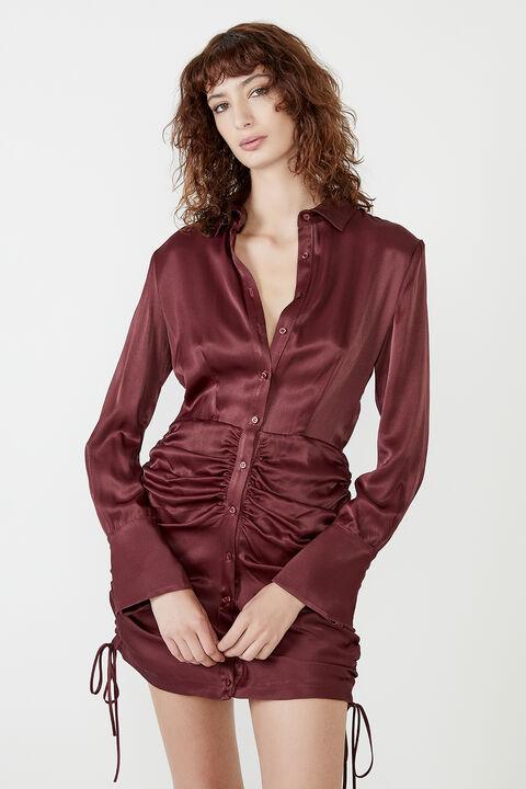 SUI SHIRT DRESS in colour BURGUNDY