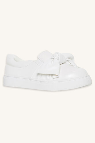 KNOTTED BOW SLIP ON SNEAKER in colour WHITE ALYSSUM