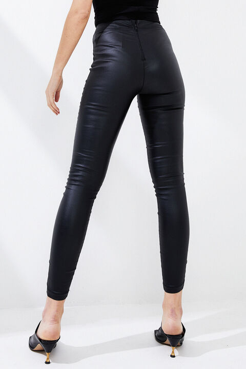 RAVEN VEGAN LEATHER LEGGINGS in colour CAVIAR