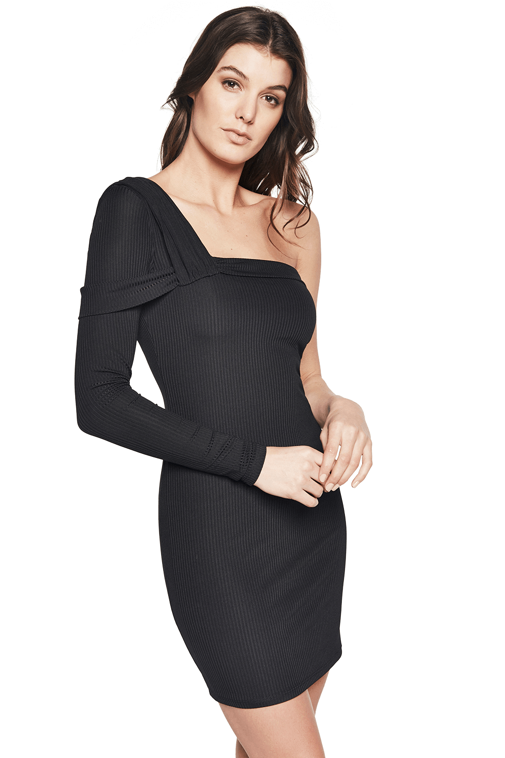 SOPHIE RIB DRESS in colour CAVIAR