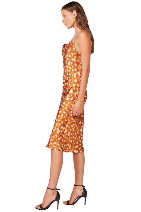 PRINTED SLIP DRESS in colour GOLDEN OCHRE