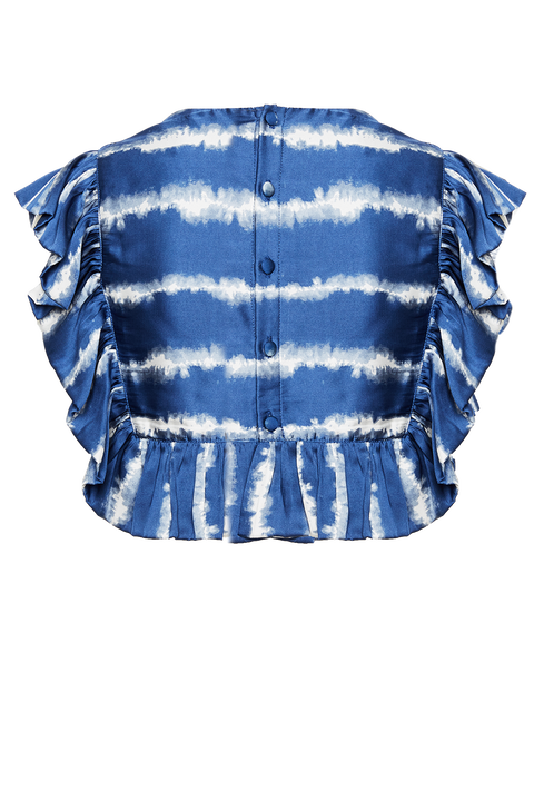 AZURE STRIPE TOP in colour PALACE BLUE