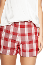 KATY CHECK SHORT in colour RIBBON RED
