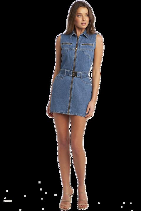 DONATELLA DENIM DRESS in colour CAPTAIN'S BLUE