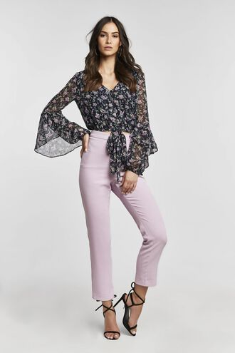 FLORAL FLUTE BLOUSE in colour NAVY BLAZER