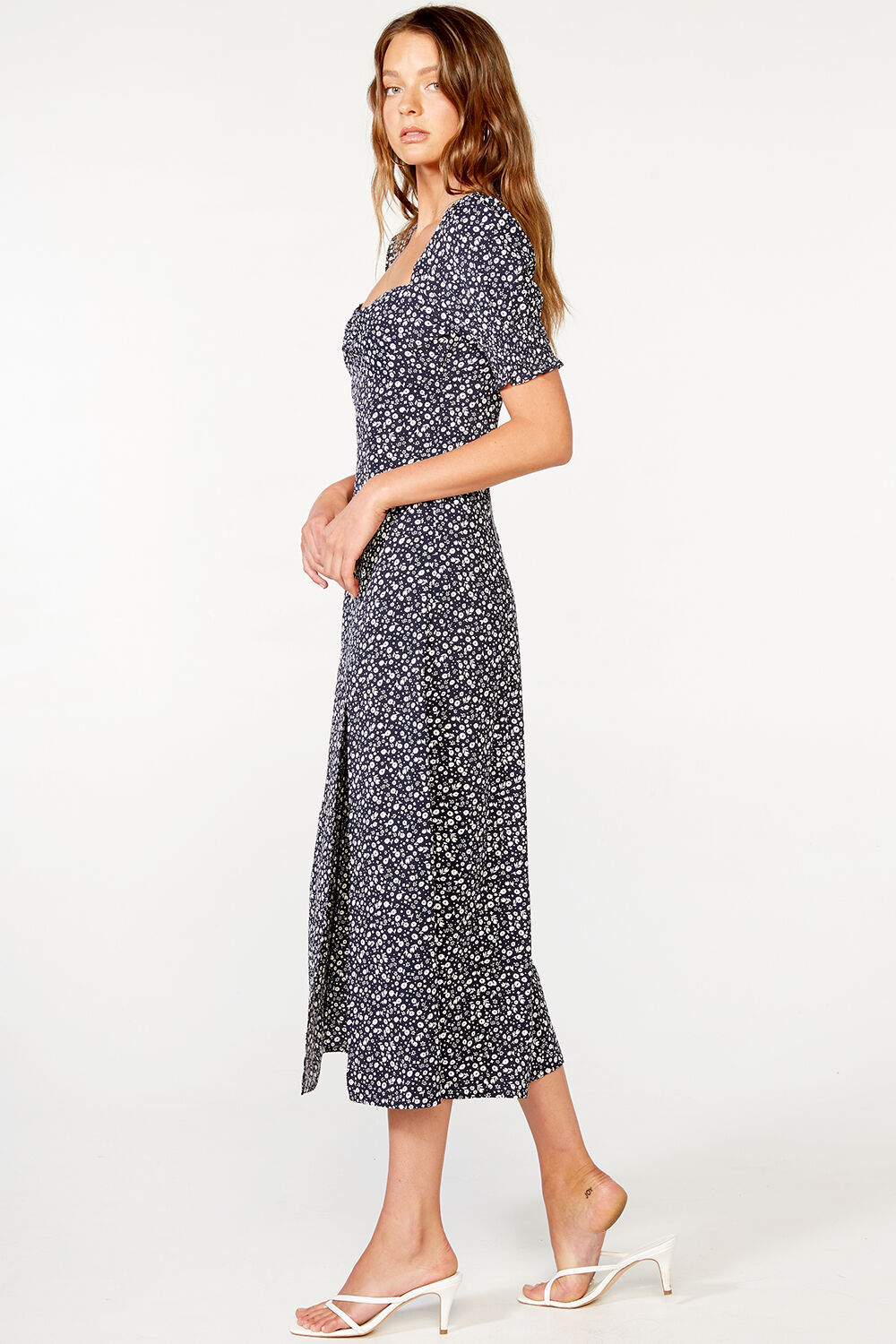 MILLIE FLORAL DRESS in colour DARK NAVY