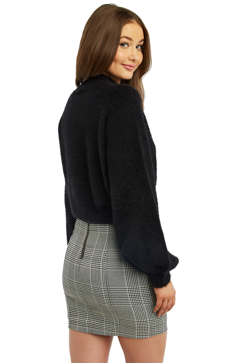 BELL SLEEVE FLUFFY KNIT in colour CAVIAR