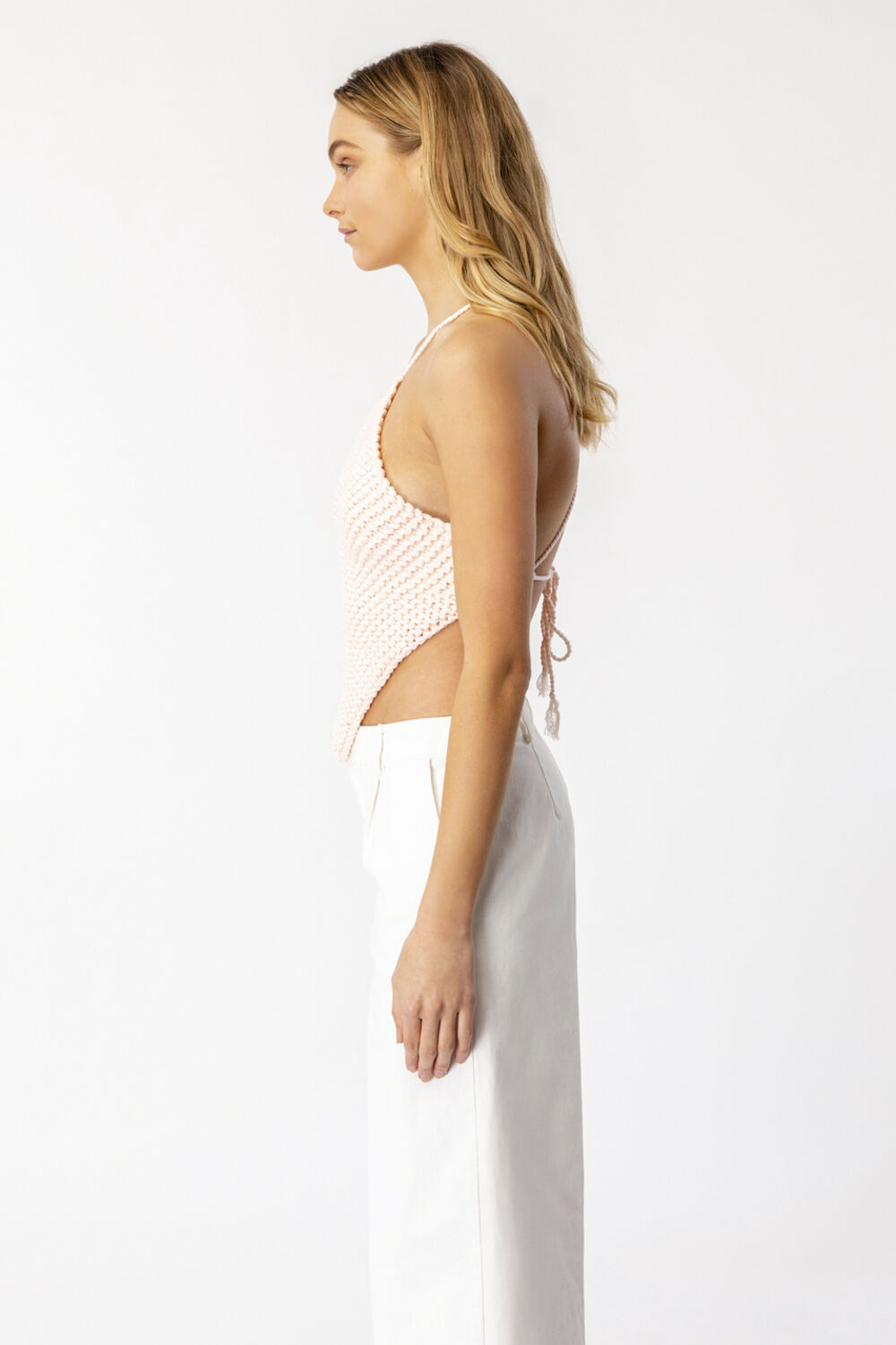 KNITTED HALTER TOP in colour PEACH WHIP