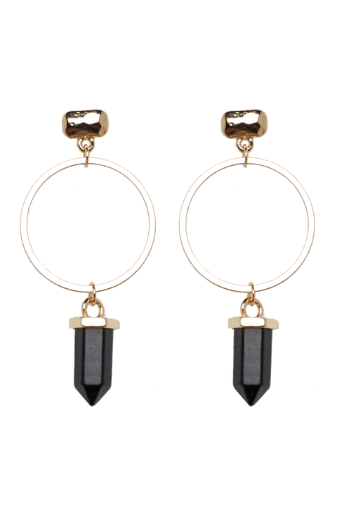 CRYSTAL DROP EARRINGS in colour GOLD EARTH