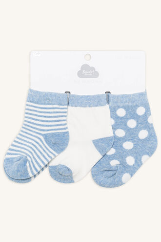 BABY BOYS SPOT & STRIPE 3PK in colour BLUE BELL
