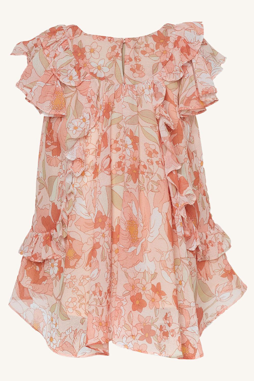 OCILIA RUFFLE DRESS in colour PEACH MELBA