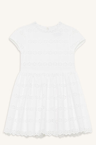 FLORA BRODERIE DRESS in colour CLOUD DANCER