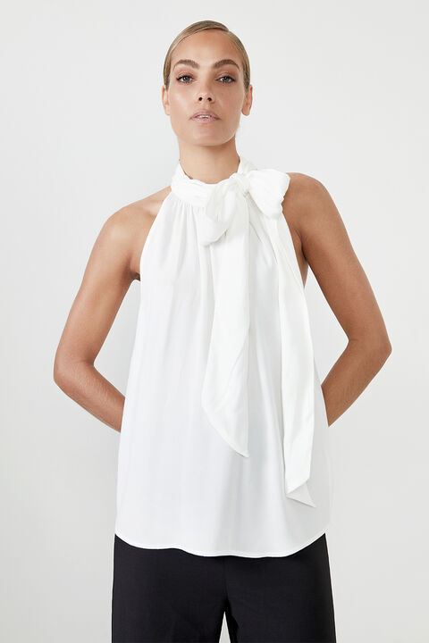 TIE NECK TOP in colour CLOUD DANCER