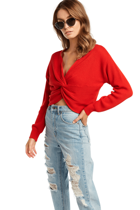 ROMIE TWIST CROP KNIT in colour CRIMSON