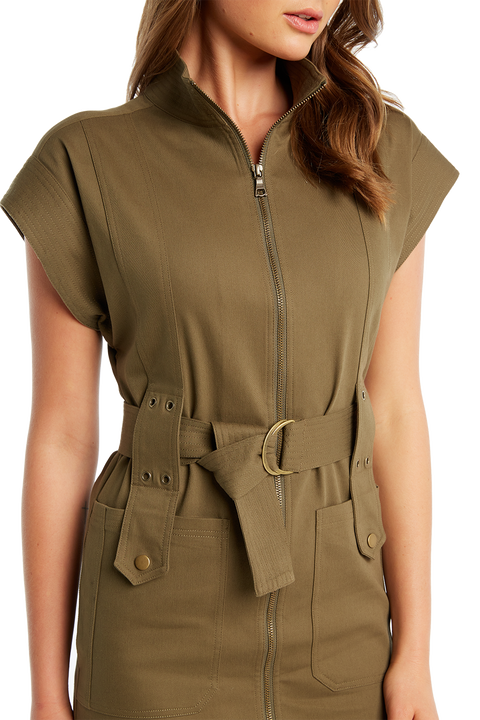 ZIP FRONT DRILL DRESS in colour BURNT OLIVE