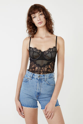 INES LACE BODYSUIT in colour CAVIAR