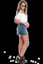 POPPY OFF SHOULDER BODYSUIT in colour BRIGHT WHITE