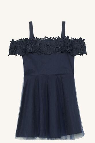 NOLA BARDOT DRESS in colour PATRIOT BLUE