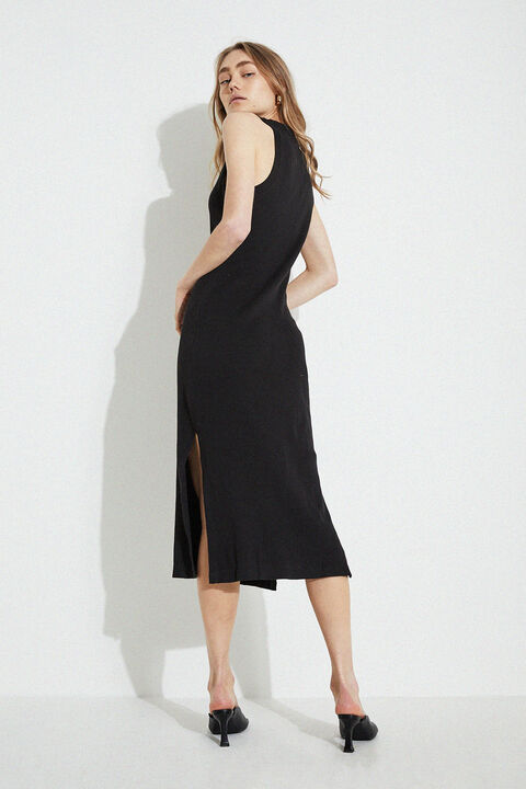SEMRA BASIC DRESS in colour CAVIAR