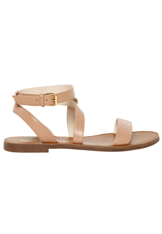 FLAT CROSS OVER SLIDE in colour BEIGE