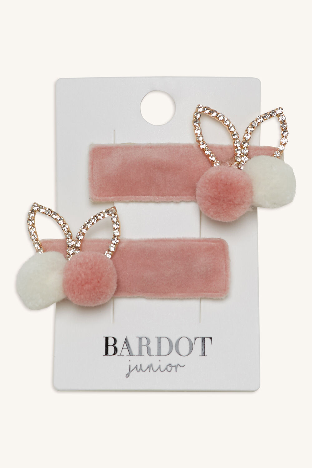 DIAMANTE BUNNY EAR CLIPS in colour PINK CARNATION