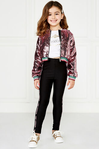 EVA SEQUIN BOMBER in colour PALE DOGWOOD