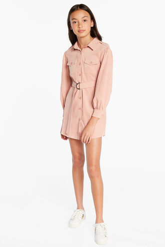 SIA CORD SHIRT DRESS in colour SILVER PEONY