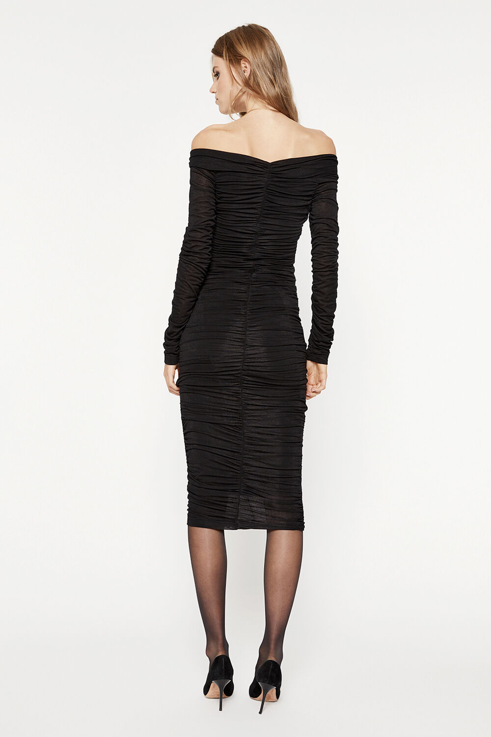 RUCHED DETAIL MIDI DRESS in colour CAVIAR