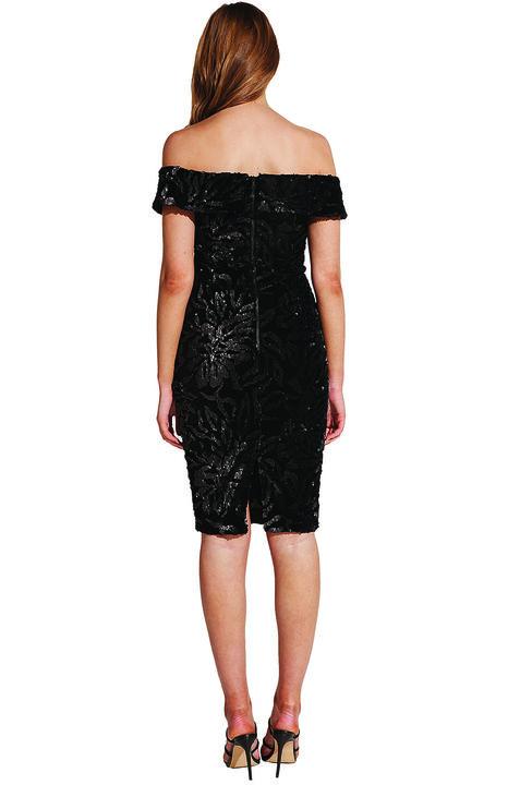 SEQUIN VELVET DRESS in colour CAVIAR