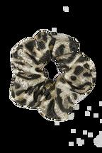 LEOPARD METALLIC SCRUNCHIE in colour ANTELOPE