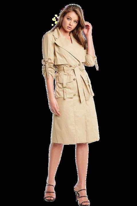 BILLIE TRENCH COAT DRESS in colour BEIGE
