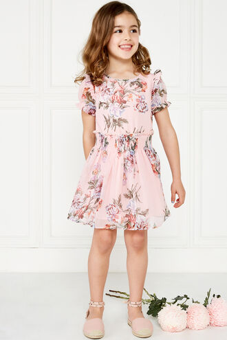 KELSEY SHIRRED DRESS in colour HEAVENLY PINK