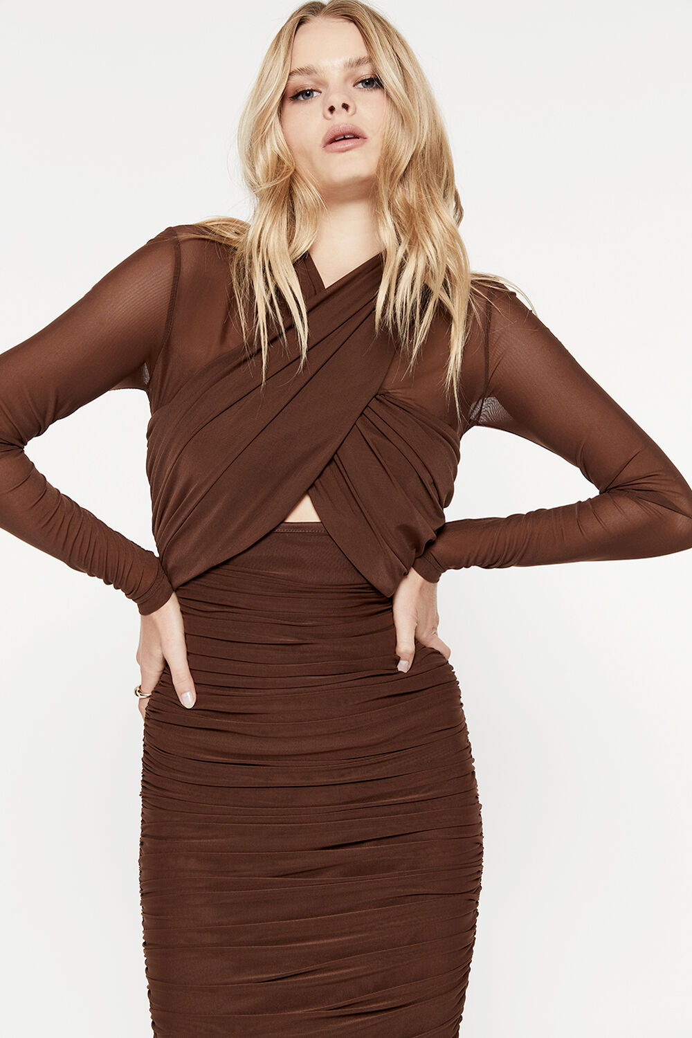ALIYAH DRESS in colour CHOCOLATE BROWN