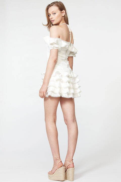 CAITLYN MINI DRESS in colour CLOUD DANCER