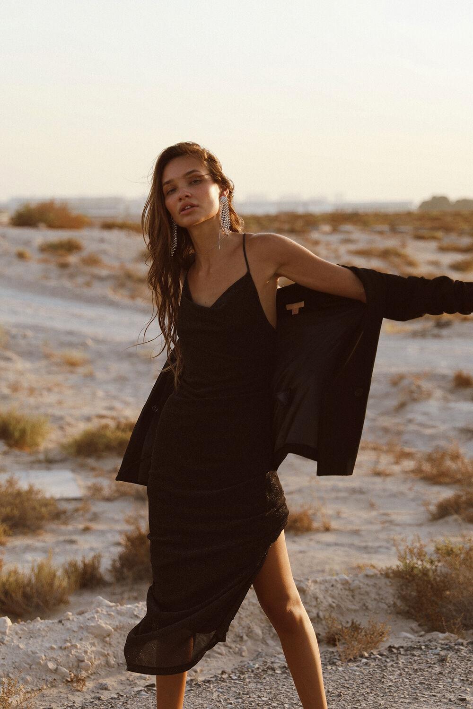 MILENA LUREX DRESS in colour CAVIAR