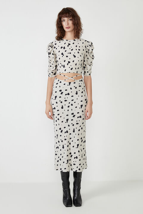 GRAPHIC SPOT BIAS SKIRT in colour GOLDEN GLOW