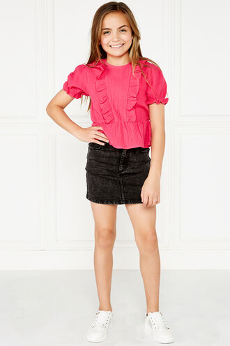 PIA RUFFLE TOP. in colour SHOCKING PINK
