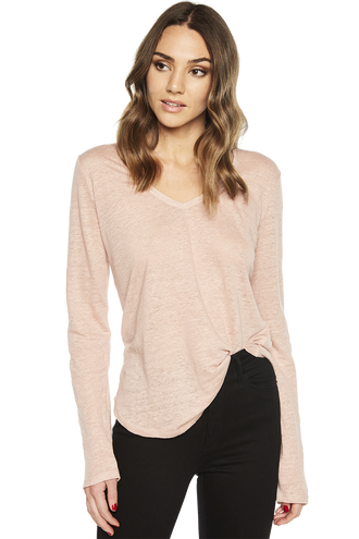 CHARLOTTE LONG SLEEVE TOP in colour MISTY ROSE