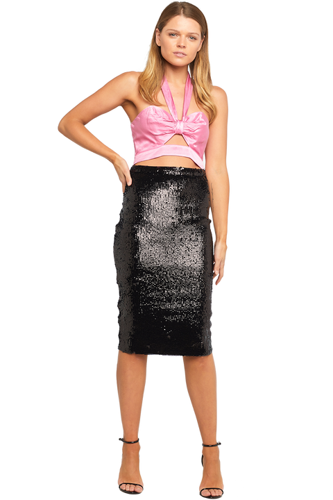 SPARKLE MIDI SKIRT in colour CAVIAR