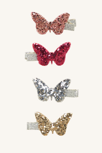 SPARKLE BUTTERFLY CLIP SET in colour BRIGHT WHITE
