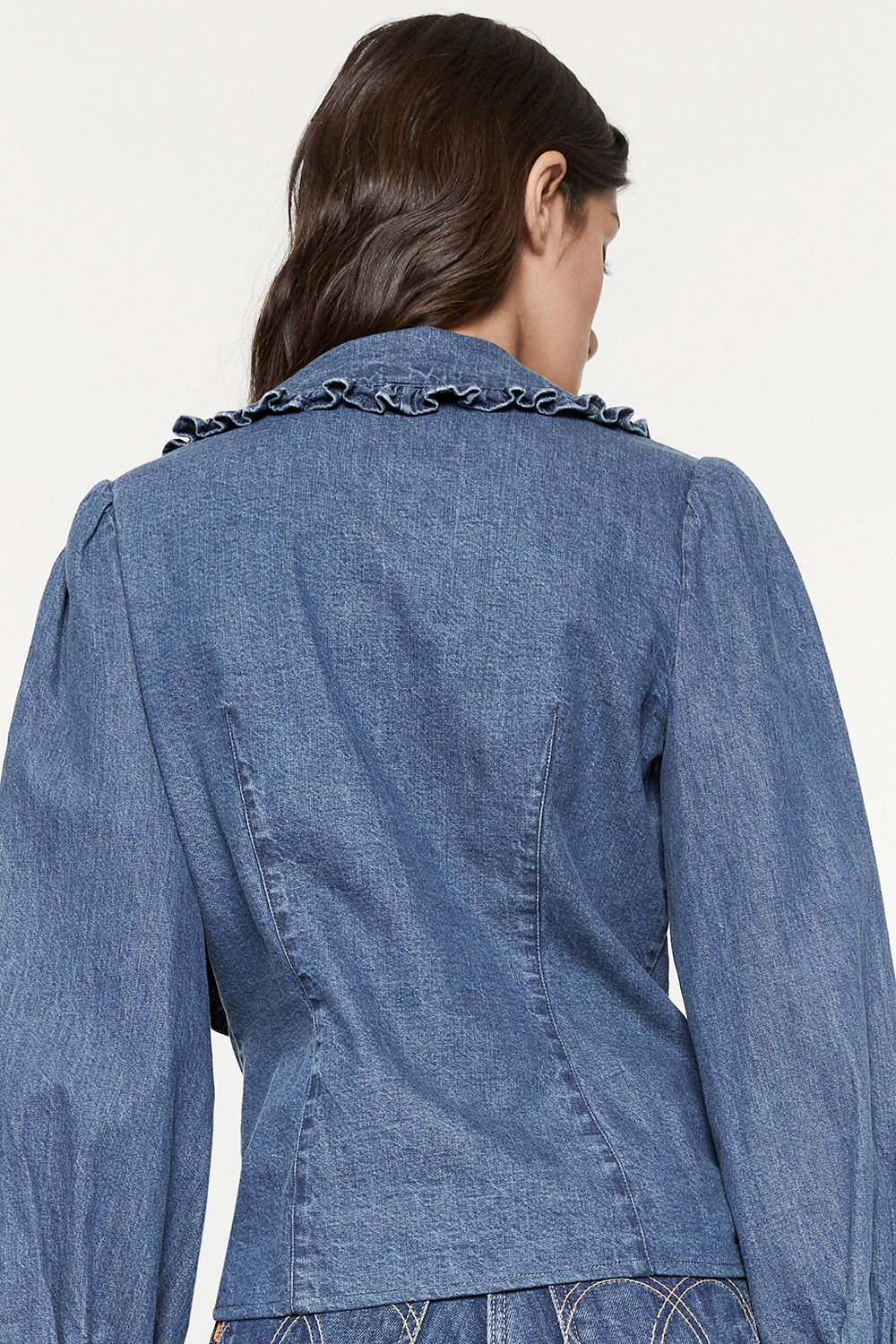 COLLAR DETAIL CHAMBRAY SHIRT in colour MIDNIGHT NAVY