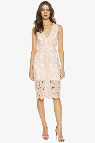 HEATHER LACE DRESS in colour MISTY ROSE