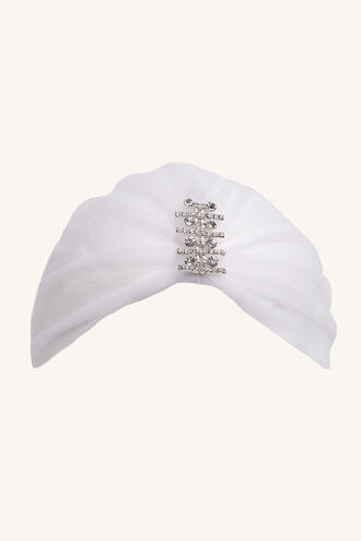 JEWELLED HEAD WRAP in colour WHITE ALYSSUM