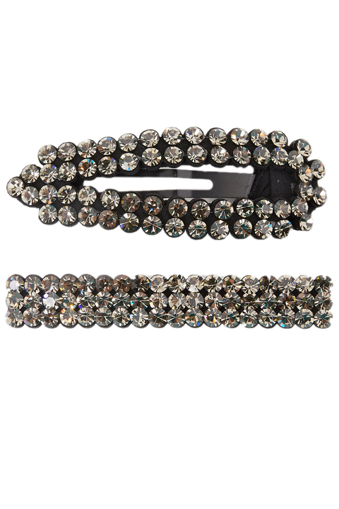 ROUND CRYSTAL CLIP SET in colour CAVIAR