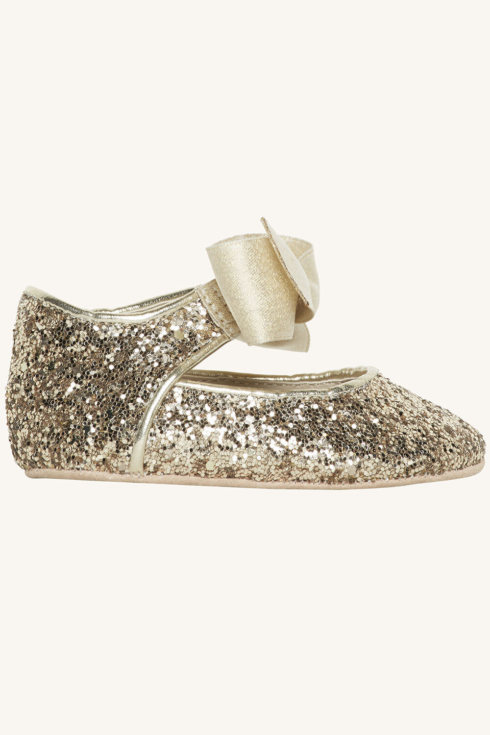 GLITTER BABY SHOE in colour GOLD EARTH