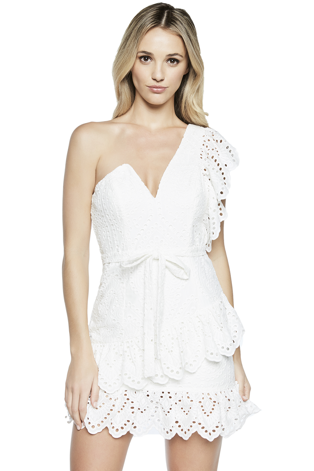 FRILL SHOULDER DRESS in colour BRIGHT WHITE