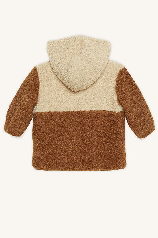 HOODED TEDDY FUR JKT in colour ALMOND